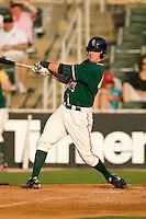 Jeremy Synan #40 of the Greensboro Grasshoppers follows through on his swing versus the Kannapolis Intimidators at Fieldcrest Cannon Stadium June 13, 2009 in Kannapolis, North Carolina. (Photo by Brian Westerholt / Four Seam Images)