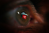 17th May 2020,Stadion An der Alten Försterei, Berlin, Germany; Bundesliga football, FC Union Berlin versus Bayern Munich; The German Bundesliga football logo caught in the reflection of a viewers eye