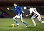 Hamilton Accies v St Johnstone …03.03.21   Fountain of Youth Stadium   SPFL<br />Scott Tanser tracked by Lee Hodson<br />Picture by Graeme Hart.<br />Copyright Perthshire Picture Agency<br />Tel: 01738 623350  Mobile: 07990 594431