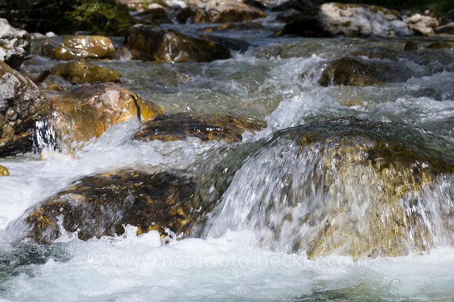 Gebirgsbach, Gebirgs-Bach, naturnaher Bach, Waldbach, Wasser, Bach, Strömung, Stein, Alpen, Kärnten, Österreich, Austria, alp, alps