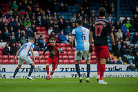 BLACKBURN, ENGLAND - JANUARY 24:   Gylfi Sigurosson ( with ball ) of Swansea City moves through the Blackburn defence during the FA Cup Fourth Round match between Blackburn Rovers and Swansea City at Ewood park on January 24, 2015 in Blackburn, England.  (Photo by Athena Pictures/Getty Images)