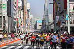 Feb. 27, 2011 - Tokyo, Japan - Runners race through the Ginza district part of town during the Tokyo Marathon. (Photo by Daiju Kitamura/AFLO SPORT)