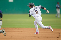 San Antonio Missions designated hitter Travis Jankowski (6) runs to second base during the Texas League baseball game against the Corpus Christi Hooks on May 10, 2015 at Nelson Wolff Stadium in San Antonio, Texas. The Missions defeated the Hooks 6-5. (Andrew Woolley/Four Seam Images)