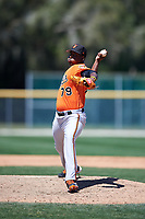Baltimore Orioles pitcher Lazaro Leyva (79) delivers a pitch during a minor league Spring Training game against the Minnesota Twins on March 17, 2017 at the Buck O'Neil Baseball Complex in Sarasota, Florida.  (Mike Janes/Four Seam Images)