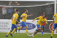 Josh Hancock of Altrincham FC scores the equaliser and celebrates during Dagenham & Redbridge vs Altrincham, Vanarama National League Football at the Chigwell Construction Stadium on 2nd October 2021