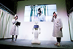 """A SoftBank robot Pepper performs during the Niconico Douga fan event at Makuhari Messe International Exhibition Hall on April 25, 2015, Chiba, Japan. The event includes special attractions such as J-pop concerts, Sumo and Pro Wrestling matches, cosplay and manga and various robot performances and is broadcast live on via the video-sharing site. Niconico Douga (in English """"Smiley, Smiley Video"""") is one of Japan's biggest video community sites where users can upload, view, share videos and write comments directly in real time, creating a sense of a shared watching. According to the organizers more than 200,000 viewers for two days will see the event by internet. The popular event is held in all 11 halls of the huge Makuhari Messe exhibition center from April 25 to 26. (Photo by Rodrigo Reyes Marin/AFLO)"""
