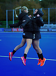 The Black Sticks warm up for the Sentinel Homes Trans Tasman Series hockey match between the New Zealand Black Sticks Women and the Australian Hockeyroos at Massey University Hockey Turf in Palmerston North, New Zealand on Tuesday, 1 June 2021. Photo: Dave Lintott / lintottphoto.co.nz