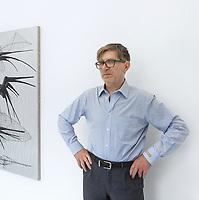 "Switzerland. Canton Ticino. Locarno. Riccardo Lisi is the director of the art gallery "" la rada"" (Spazio per l'arte contemporanea). ""Shadow Ship"" (2019) is a painting by swiss artist Mathis Gasser. 1.05.2020 © 2020 Didier Ruef"