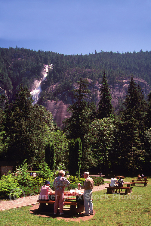 """People having Picnic in Shannon Falls Provincial Park near Squamish, BC, British Columbia, Canada - along """"Sea to Sky"""" Highway 99"""
