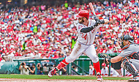 30 August 2015: Washington Nationals outfielder Bryce Harper in action against the Miami Marlins at Nationals Park in Washington, DC. The Nationals rallied to defeat the Marlins 7-4 in the third game of their 3-game weekend series. Mandatory Credit: Ed Wolfstein Photo *** RAW (NEF) Image File Available ***