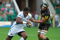 Sereli Naqelevuki of Exeter Chiefs goes past Mark Sorenson of Northampton Saints during the Aviva Premiership match between Northampton Saints and Exeter Chiefs at Franklin's Gardens on Sunday 9th September 2012 (Photo by Rob Munro)