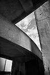 Urban Abstract, garage ramp in black & white