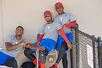 Philadelphia Phillies (L-R) Ramon Rosso, Carlos Francisco, and Junior Tejada during a Minor League Spring Training game against the Toronto Blue Jays on March 29, 2019 at the Carpenter Complex in Clearwater, Florida.  (Mike Janes/Four Seam Images)