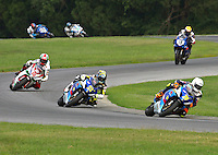 Blake Young leads a pack at the Suzuki Big Kahuna Nationals, Virginia International Raceway, Alton, VA, August 2009. (Photo by Briain Cleary/www.bcpix.com)