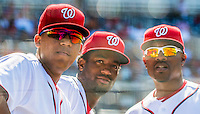 7 August 2016: Washington Nationals catcher Pedro Severino (left), looks down the dugout with outfielder Brian Goodwin (center) and assistant hitting coach Jacque Jones during a game against the San Francisco Giants at Nationals Park in Washington, DC. The Nationals shut out the Giants 1-0 to take the rubber match of their 3-game series. Mandatory Credit: Ed Wolfstein Photo *** RAW (NEF) Image File Available ***