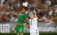 PASADENA, CALIFORNIA - August 03: Rianna Jarrett #12, Julie Ertz #8 during their international friendly and the USWNT Victory Tour match between Ireland and the United States at the Rose Bowl on August 03, 2019 in Pasadena, CA.
