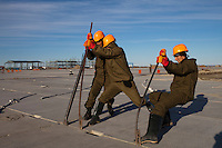 Yamal Peninsula, Russia, 08/07/2010..Construction work on a new airport runway at the Gazprom Yamal Bovanenkovo gasfield project.