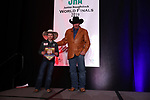 Rowdy Benjamin during the bareback and saddle bronc back  number  presentation at the Junior World Finals Rodeo. Photo by Andy Watson. Written permission must be  provided  to use  this  photo  in any manner.