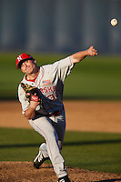 Tyler King #32 of the Nebraska Cornhuskers pitches against the Cal State Fullerton Titans at Goodwin Field on February 16, 2013 in Fullerton, California. Cal State Fullerton defeated Nebraska 10-5. (Larry Goren/Four Seam Images)