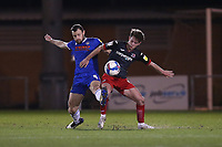 Tommy Smith of Colchester United and Ben Seymour of Exeter City during Colchester United vs Exeter City, Sky Bet EFL League 2 Football at the JobServe Community Stadium on 23rd February 2021