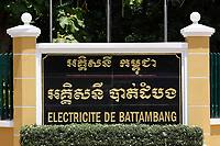 Battambang - Cambodia - June 2020<br />  - french sign of electricite de Battambang (electrical power of Battambang