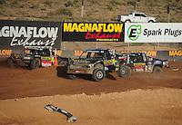 Dec. 11, 2011; Chandler, AZ, USA;  LOORRS pro 2 driver Rob MacCachren (1) Todd LeDuc (4) and Brian Deegan (38) during the Lucas Oil Challenge Cup at Firebird International Raceway. Mandatory Credit: Mark J. Rebilas-