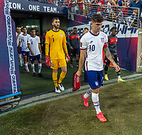 NASHVILLE, TN - SEPTEMBER 5: Christian Pulisic #10 of the United States enters the field during a game between Canada and USMNT at Nissan Stadium on September 5, 2021 in Nashville, Tennessee.