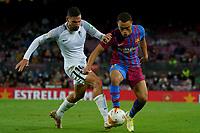 20th September 2021; Nou Camp, Barcelona, Spain; La Liga football league;  FC Barcelona versus Granada;   Dest of Braca tackled by Puerta