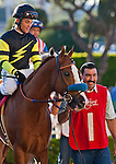 Pacific Ocean and Joel Rosario win the Vernon O. Underwood Stakes(GIII) at Hollywood Park in Inglewood, CA. November 26, 2011