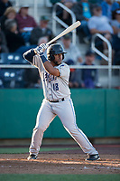 Tri-City Dust Devils third baseman Jose Lezama (18) at bat during a Northwest League game against the Everett AquaSox at Everett Memorial Stadium on September 3, 2018 in Everett, Washington. The Everett AquaSox defeated the Tri-City Dust Devils by a score of 8-3. (Zachary Lucy/Four Seam Images)