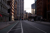 April 21, 2020<br /> New York, New York<br /> <br /> Empty lower Manhattan just after sunrise during the height of the coronavirus pandemic.