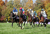 Flat Top, left, duels Tres Touche (red cap), Sur La Tete (blue and tan cap) McDynamo, right in the 2004 Breeders Cup Steepelchase at Far Hills, NJ. That's Hirapout at the back in the green and blue colors.