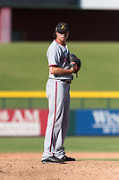 Salt River Rafters relief pitcher Jordan Mills (28), of the Washington Nationals organization, gets ready to deliver a pitch during an Arizona Fall League game against the Mesa Solar Sox at Sloan Park on October 30, 2018 in Mesa, Arizona. Salt River defeated Mesa 14-4 . (Zachary Lucy/Four Seam Images)