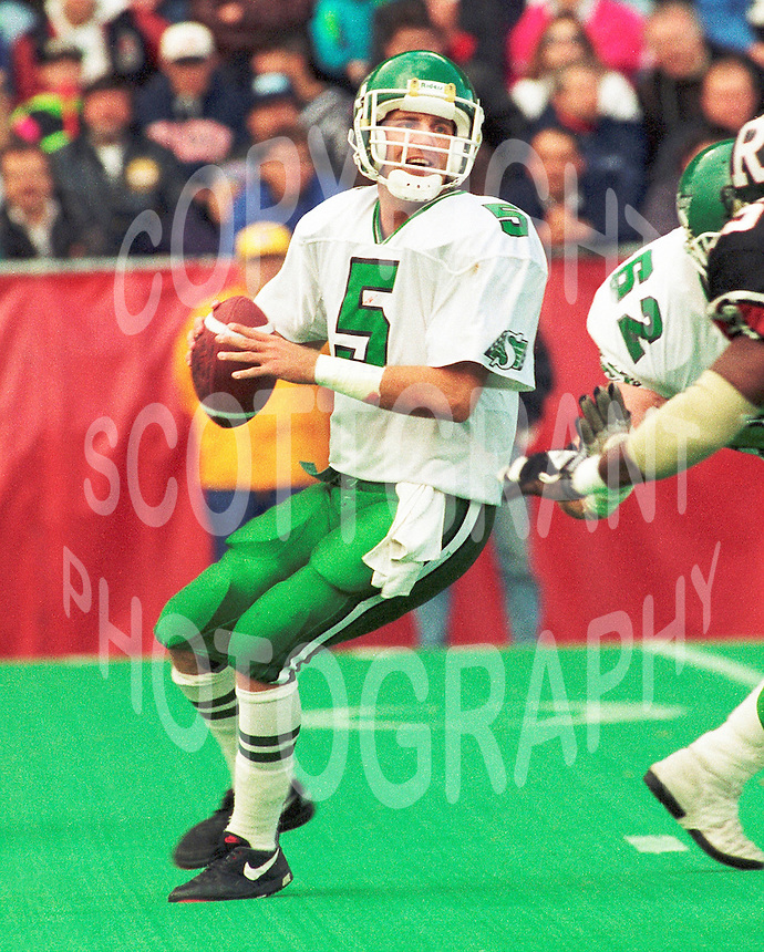Kent Austin Saskatchewan Roughriders quarterback 1991. Copyright photograph Scott Grant/