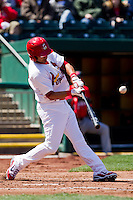 Niko Vasquez (7) of the Springfield Cardinals makes contact on a pitch during a game against the Frisco RoughRiders on April 16, 2011 at Hammons Field in Springfield, Missouri.  Photo By David Welker/Four Seam Images