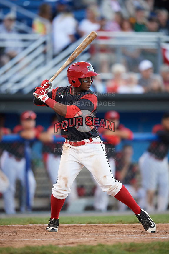 Batavia Muckdogs second baseman Samuel Castro (5) at bat during a game against the Auburn Doubledays on June 19, 2017 at Dwyer Stadium in Batavia, New York.  Batavia defeated Auburn 8-2 in both teams opening game of the season.  (Mike Janes/Four Seam Images)