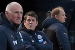 Newcastle United 1 Tottenham Hotspur 3 19/04/2015. St James Park, Premier League. Home team manager John Carver (centre), pictured in the dugout before Newcastle United host Tottenham Hotspurs in an English Premier League match at St. James' Park. The match was boycotted by a section of the home support critical of the role of owner Mike Ashley and sponsorship by a payday loan company. The match was won by Spurs by 3-1, watched by 47,427, the lowest league gate of the season at the stadium. Photo by Colin McPherson.