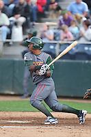 Jeffery Baez #27 of the Boise Hawks bats against the Everett AquaSox at Everett Memorial Stadium on July 22, 2014 in Everett, Washington. Everett defeated Boise, 6-0. (Larry Goren/Four Seam Images)