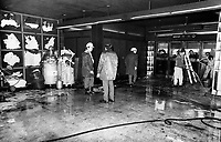 Aftermath of a small fire at Rosemont Metro in Montreal, January 23, 1974<br /> .<br /> <br />  On 23 January 1974, a series of tire blowouts caused a fire which destroyed a nine-car train between metro Laurier and Rosemont.<br /> <br /> <br /> <br /> Photo : AQP - Alain Renaud