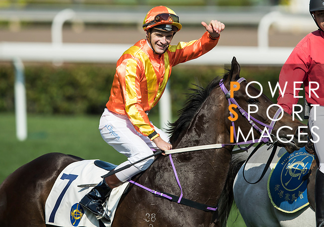 Jockey Sam Clipperton riding Everest celebrates winning the Port Shelter Handicap as part of Hong Kong Jockey Club Horse Racing Season 2016-17 on 02 April 2017, at Sha Tin Racecourse in Hong Kong, China. Photo by Chris Wong / Power Sport Images