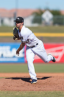 Peoria Javelinas relief pitcher Daniel Brown (49), of the Milwaukee Brewers organization, follows through on his delivery during an Arizona Fall League game against the Scottsdale Scorpions at Peoria Sports Complex on October 18, 2018 in Peoria, Arizona. Scottsdale defeated Peoria 8-0. (Zachary Lucy/Four Seam Images)