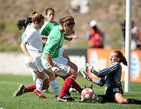 Mexico's goalkeeper Pamela Tajonar, right, stops a shot by USA's Kelley O'Hara..USA 3-0 over Mexico in San Diego, California, Sunday, March 28, 2010.