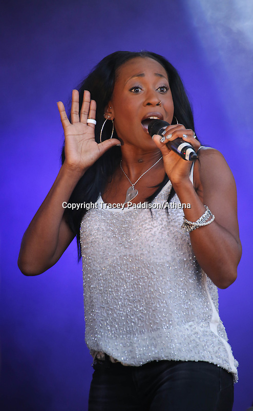 Saturday August 16, 2014 <br /> Picture: Easther Bennett, Eternal <br /> RE: Eternal performing on stage at Pride Cymru in Coopers Field, Cardiff, South Wales.