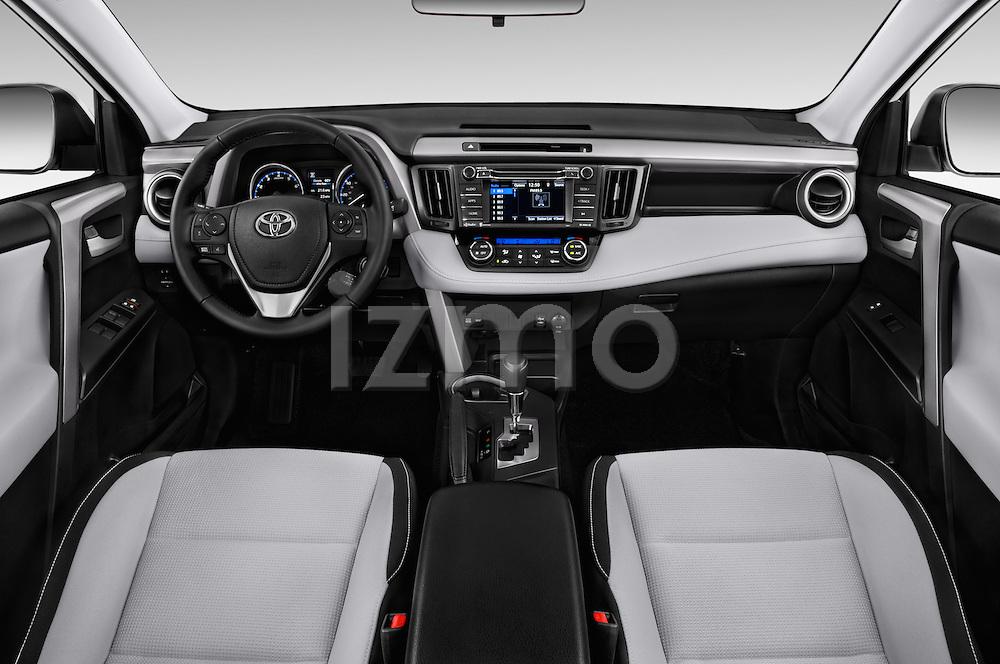 Stock photo of straight dashboard view of 2018 Toyota RAV4 XLE 5 Door SUV Dashboard
