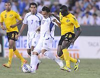 El Salvador forward Lester Blanco (17) goes against Jamaica defender Dicoy Williams (3)  Jamaica defeated El Salvador 2-0 in a international friendly match at RFK Stadium, Wednesday August 15, 2012.