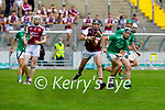 Breaking ball between Causeway's Tommy Casey and Kevin Goulding of Ballyduff in round 2 of the County Senior Hurling championship,