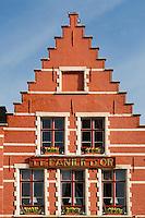 Belgium, Bruges, Gabled house, Market Square, Brugge Markt