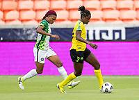 HOUSTON, TX - JUNE 10: Konya Plummer #5 of Jamaica dribbles the ball during a game between Nigeria and Jamaica at BBVA Stadium on June 10, 2021 in Houston, Texas.