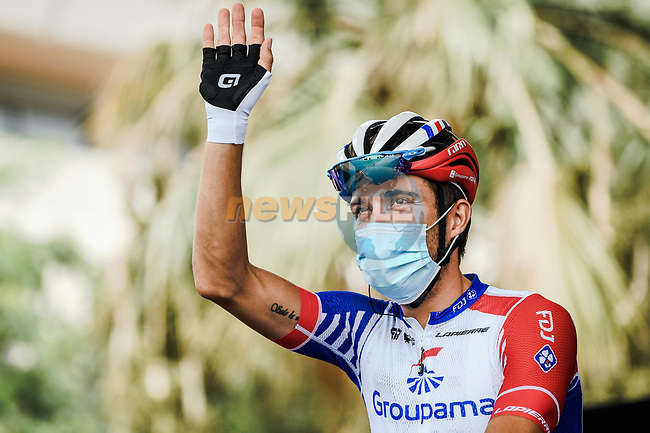 Thibaut Pinot (FRA) Groupama-FDJ at sign on before the start of Stage 1 of Tour de France 2020, running 156km from Nice Moyen Pays to Nice, France. 29th August 2020.<br /> Picture: ASO/Alex Broadway | Cyclefile<br /> All photos usage must carry mandatory copyright credit (© Cyclefile | ASO/Alex Broadway)