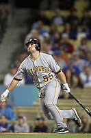 Pittsburgh Pirates catcher Michael McKenry #55 bats against the Los Angeles Dodgers at Dodger Stadium on September 17, 2011 in Los Angeles,California. Los Angeles defeated Pittsburgh 6-1.(Larry Goren/Four Seam Images)